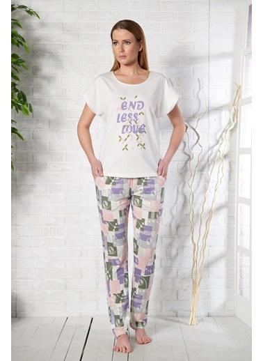 Baskılı Kadın T-Shirt Pantolon Takım-Gizzey